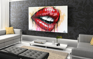 contemporary lips ready to hang canvas artwork by andy baker of bald art
