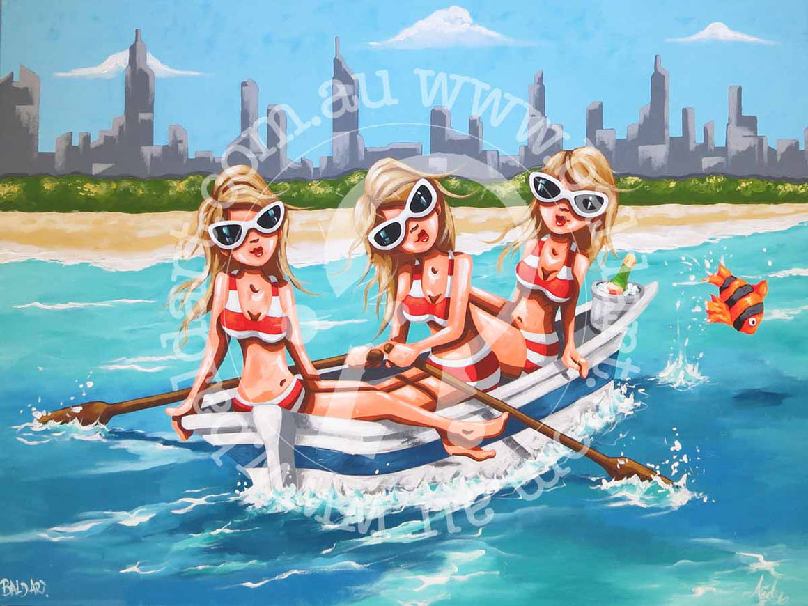 beach row boat artwork by andy baker of bald art