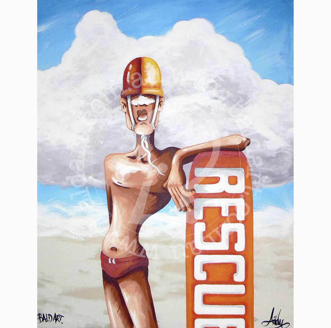surf life saving artwork by andy baker of bald art