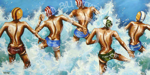 surf lifesaving artwork by andy baker of bald art