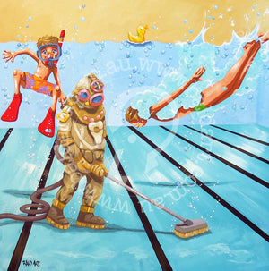 swim for your life series artwork by andy baker of bald art