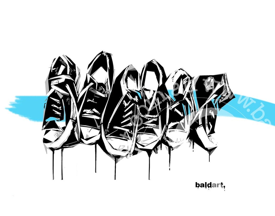 sneaker art canvas print by andy baker of bald art