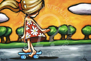 pop art style skate canvas artwork by andy baker of bald art