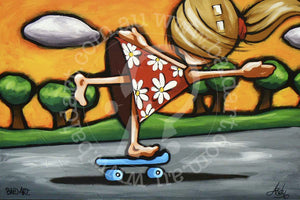 pop art style artwork skate canvas wall art by andy baker of bald art