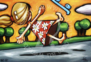 pop art style skate artwork canvas wall art by andy baker of bald art
