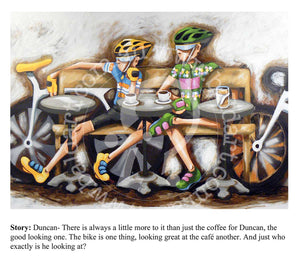 cycling series artwork limited edition print with story by andy baker of bald art