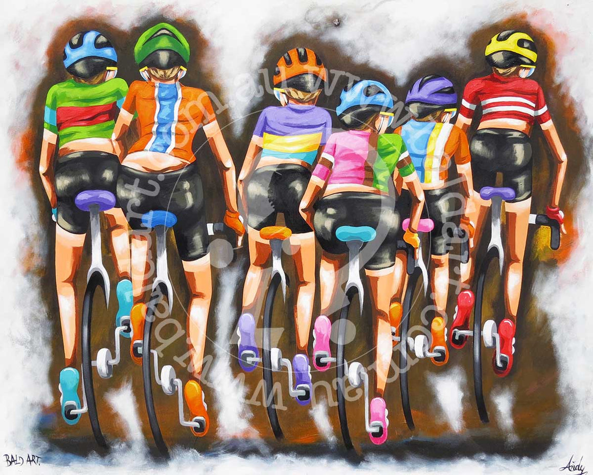cycling artwork canvas wall art by andy baker of bald art