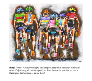cycling artwork print by andy baker of bald art