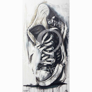 converse sneaker art by andy baker of bald art