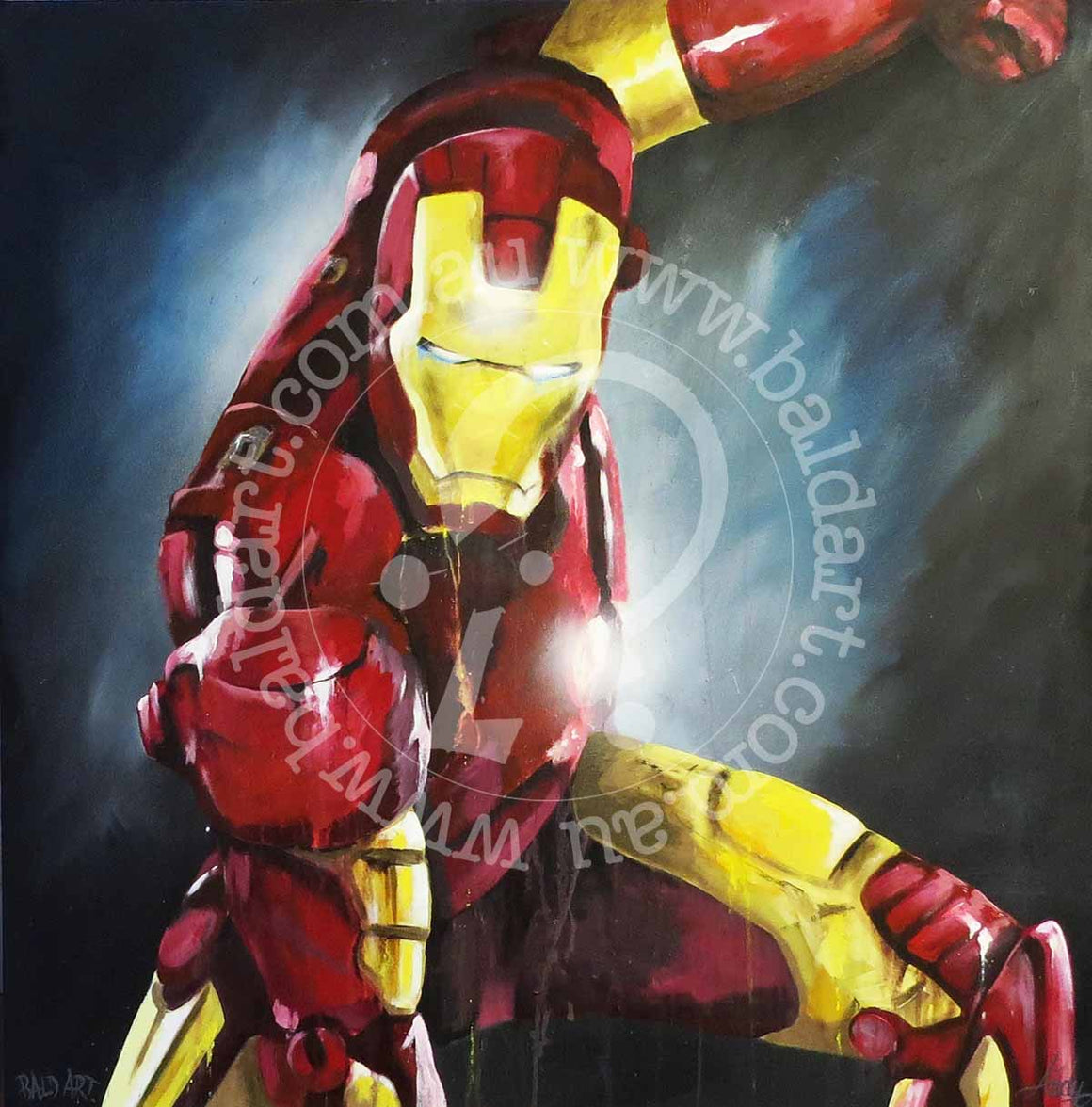 iron man canvas artwork by andy baker of the bald art company