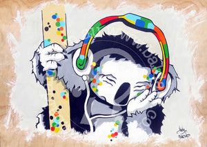 koala dj aussie art pop art style by andy baker of bald art
