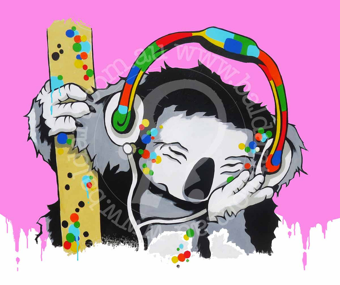 koala dj artwork pop art style by andy baker of bald art