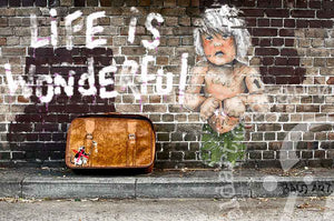 not a banksy street art by andy baker of bald art