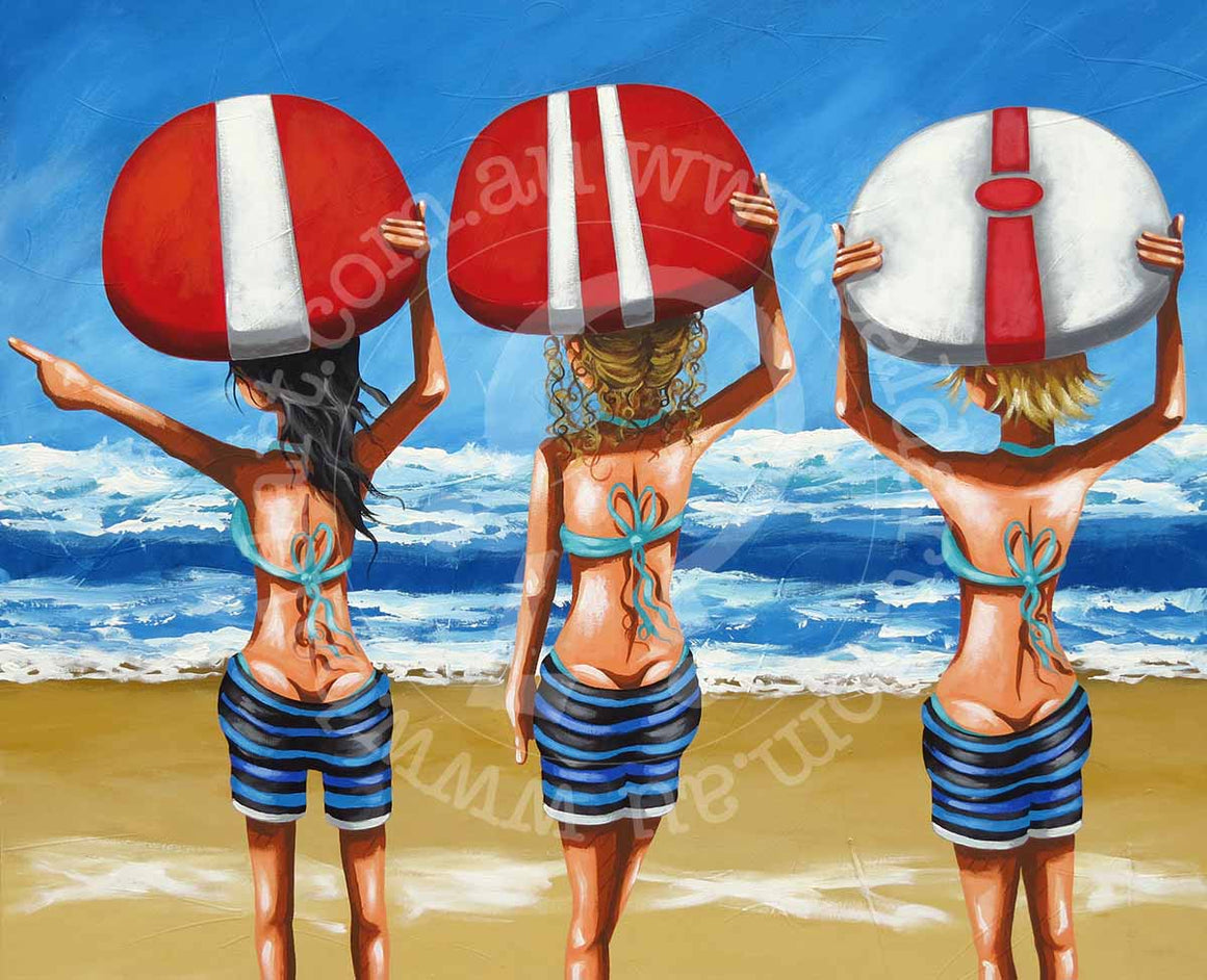 surf art canvas by andy baker of bald art