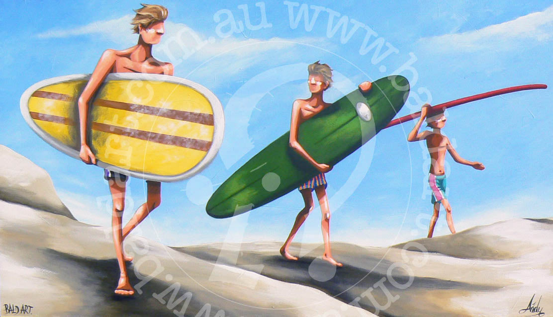surf art limited edition canvas by andy baker of bald art