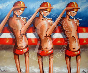 surf life saving artwork canvas by andy baker of bald art