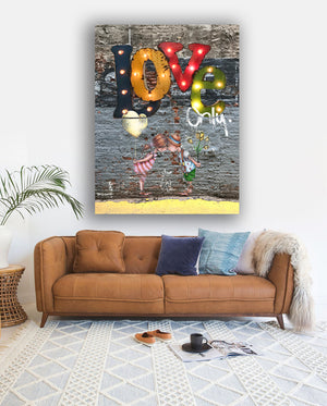 love only canvas print by Andy Baker and the bald art company ready to hang
