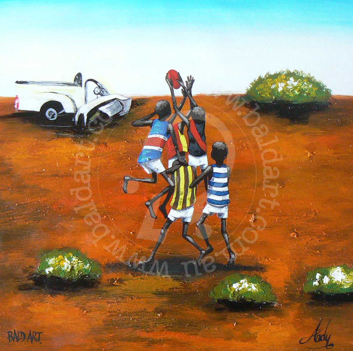 aussie rules football artwork by andy baker of bald art
