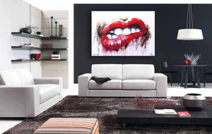 lips canvas artwork ready to hang by the bald art company