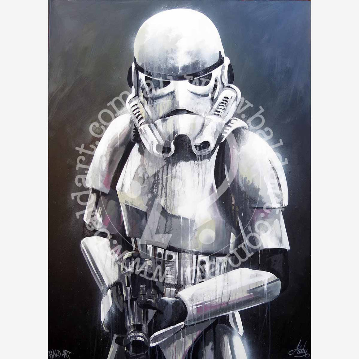 star wars stormtrooper artwork by andy baker of bald art