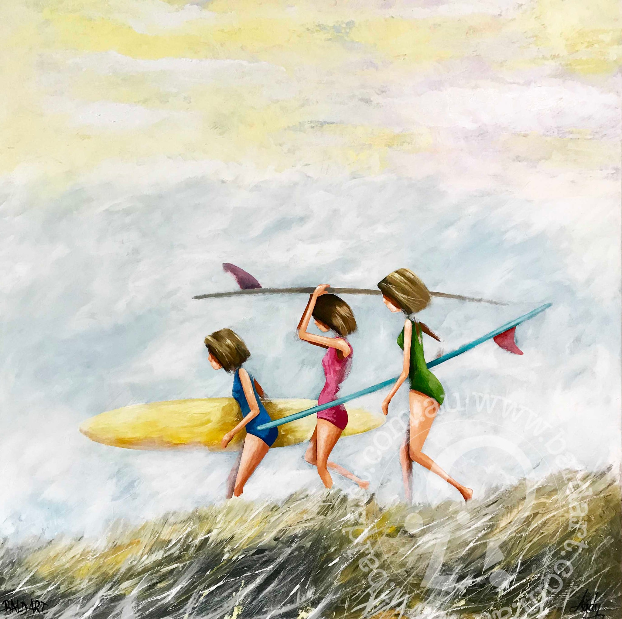 Original art painting print signed Andy Baker Beach surfing waves fun Australia