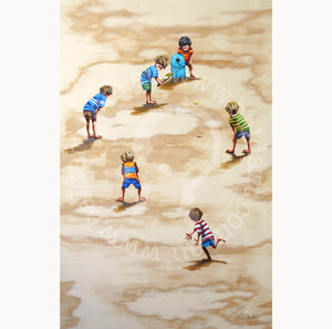 beach cricket artwork wall art by andy baker of bald art
