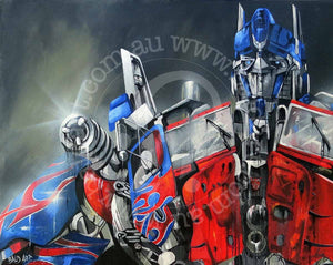 transformers artwork optimus prime by andy baker of bald art