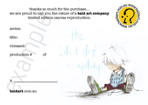 limited edition certificate of authenticity andy baker of bald art