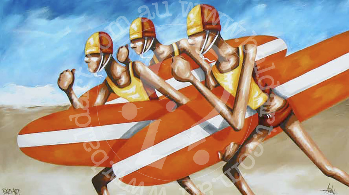 surf life saving art canvas by andy baker of bald art