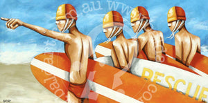 surf life saving artwork canvas wall art by andy baker of bald art