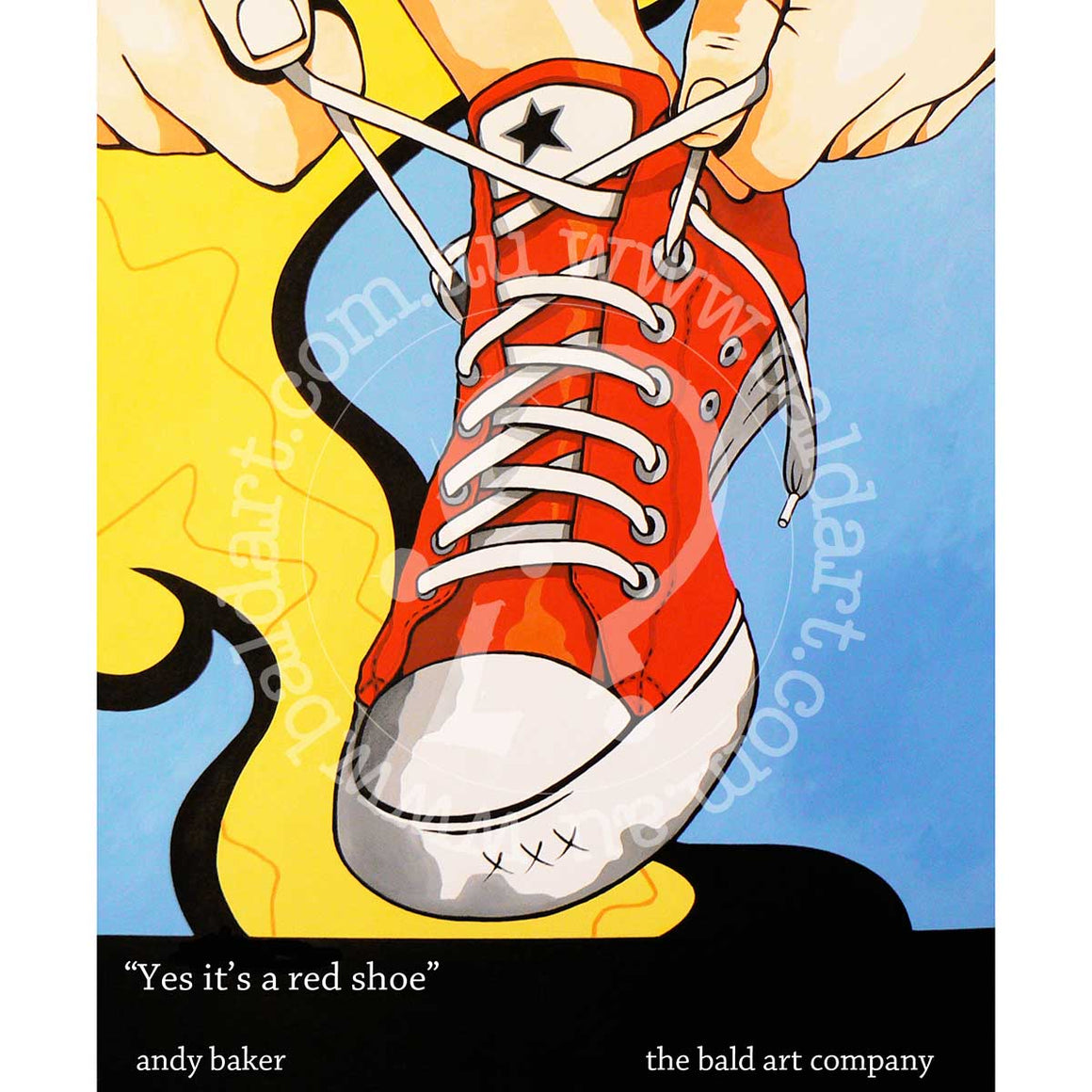 converse sneaker artwork pop art style by andy baker of bald art