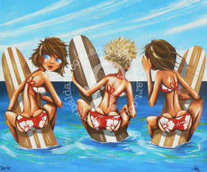 beach surf art limited edition canvas print by andy baker of the bald art company