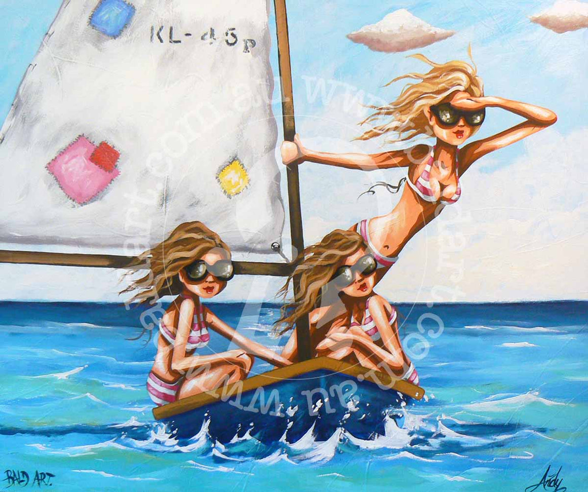 beach surf boat artwork by andy baker of bald art