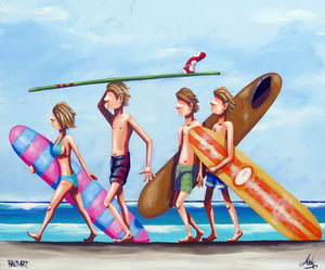 surf artwork limited edition canvas by andy baker of bald art
