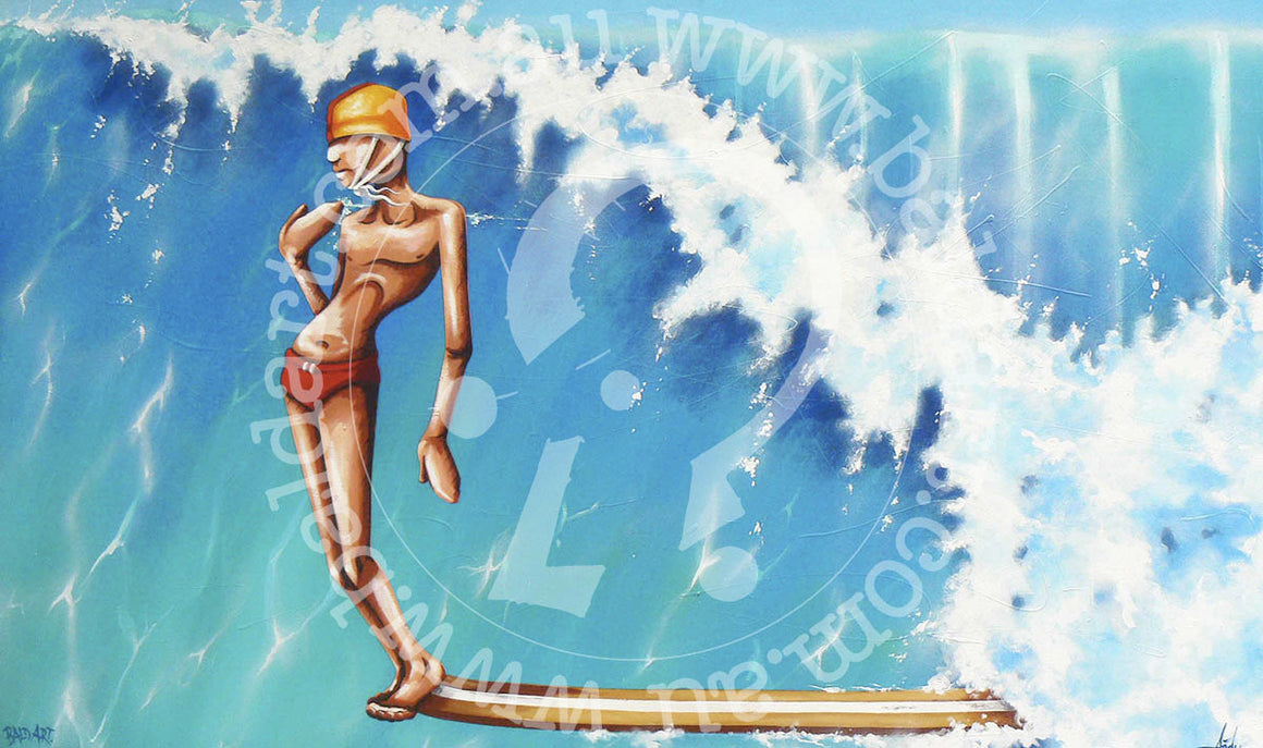 surf artwork limited edition canvas wall art by andy baker of bald art