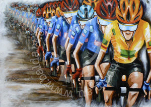 cycling artwork limited edition canvas by andy baker of bald art