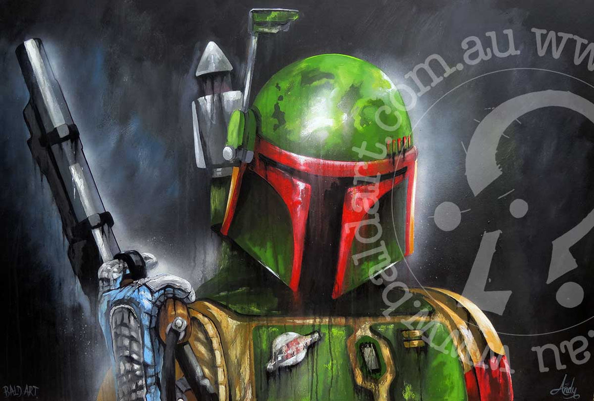 the bounty hunter boba fett artwork by andy baker of bald art