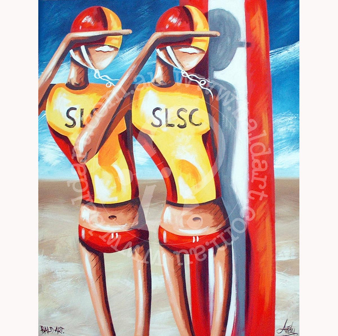 surf life saving canvas wall art by andy baker of bald art