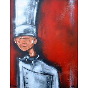 chef artwork by andy baker of bald art limited edition canvas print