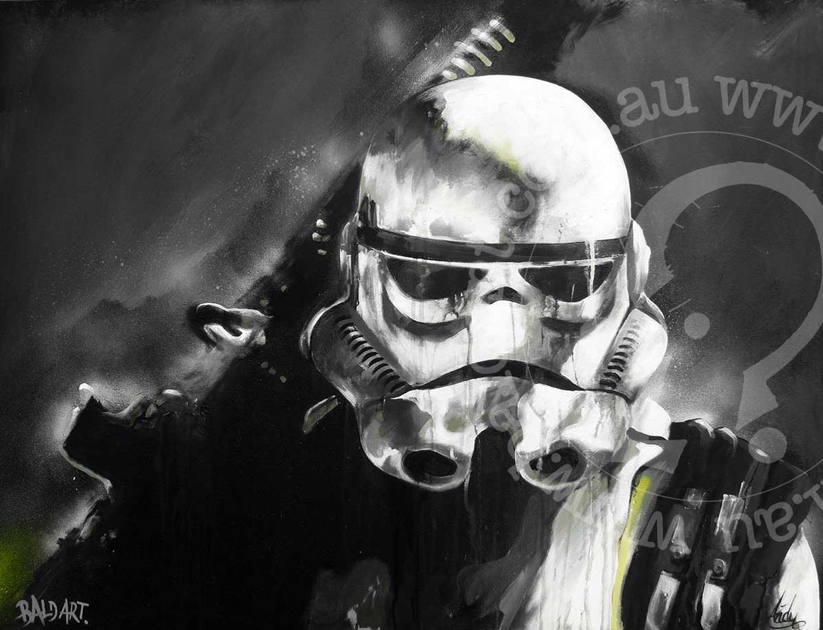 star wars stormtrooper artwork limited edition canvas by andy baker of bald art