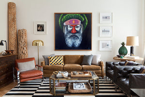 Large ready to hang warrior artwork by andy baker of bald art
