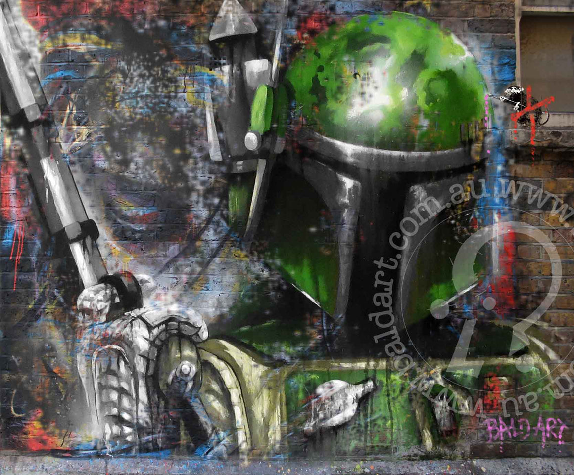 star wars street art limited edition canvas print by andy baker of bald art