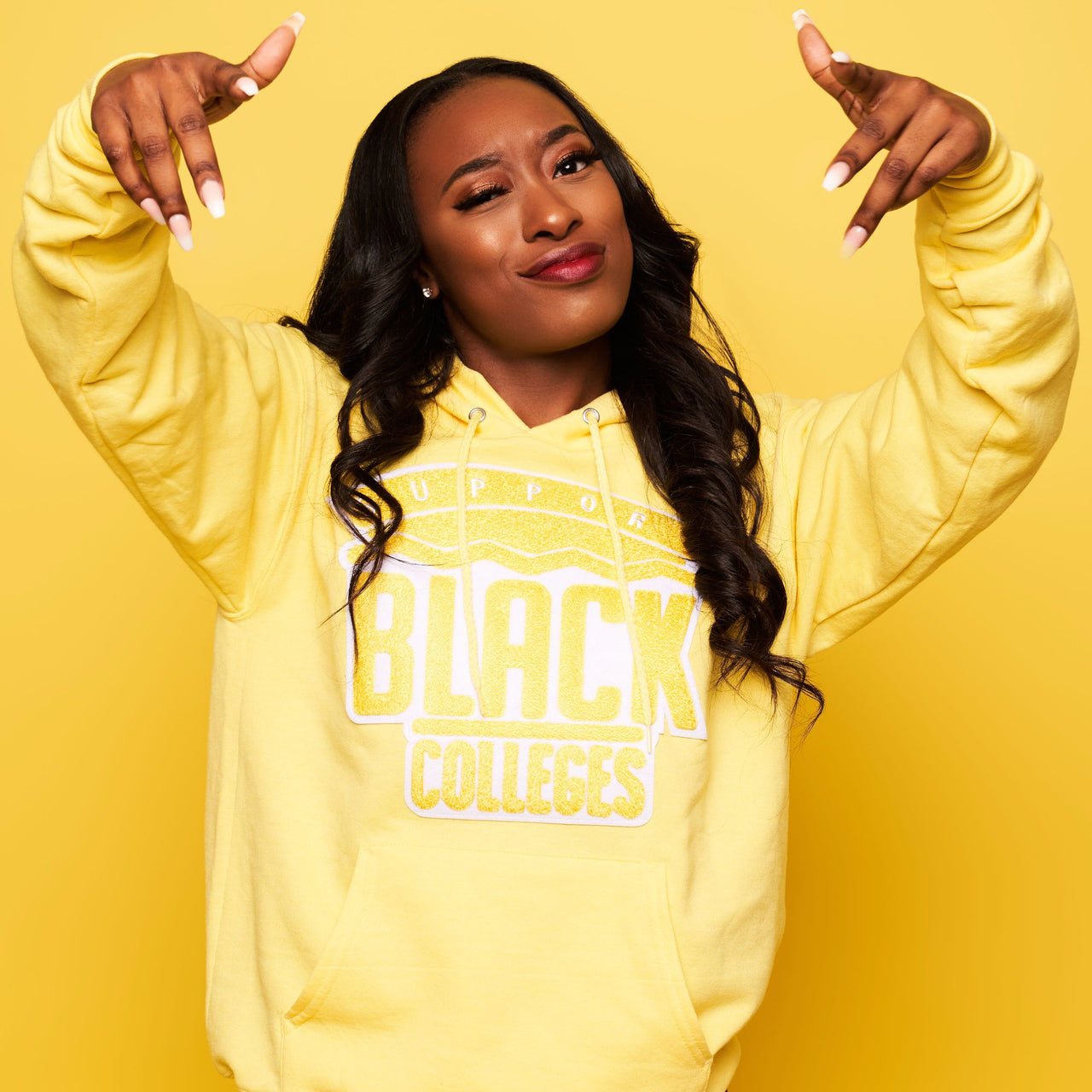 """Support Black College"" Monochrome Hoodie ""Lemon"""
