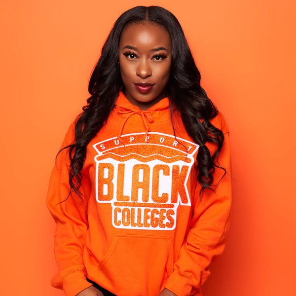 """Support Black College"" Monochrome Hoodie ""Tangerine"""
