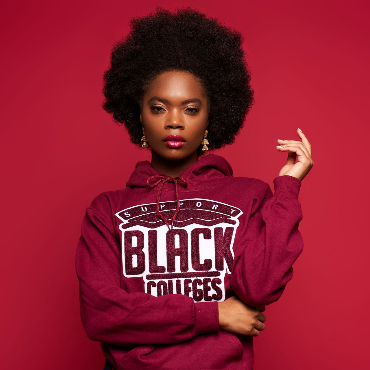 """Support Black College"" Monochrome Hoodie ""Wine"""
