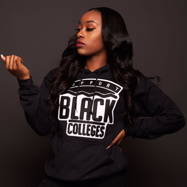 """Support Black College"" Monochrome Hoodie ""Jet"""
