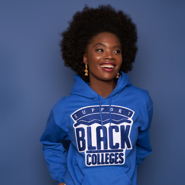 """Support Black College"" Monochrome Hoodie ""Nipsey Blue"""