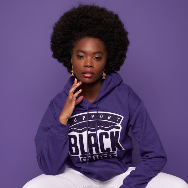 """Support Black College"" Monochrome Hoodie ""Violet"""