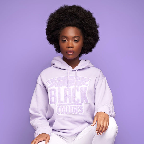 """Support Black College"" Monochrome Hoodie ""Lilac"""