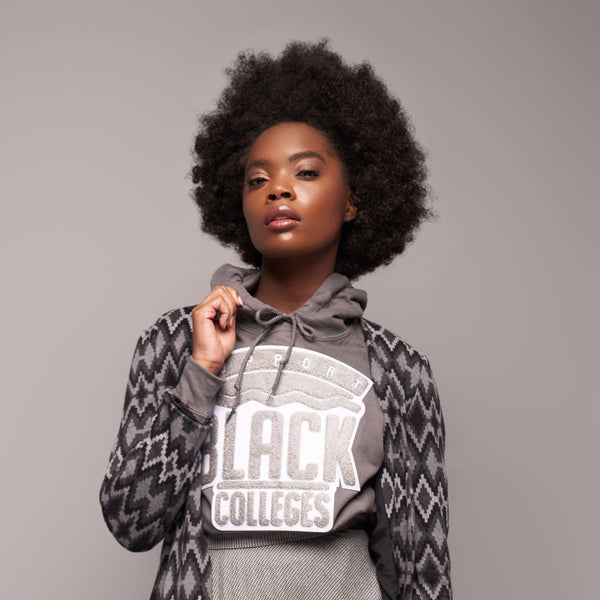 """Support Black College"" Monochrome Hoodie ""Charcoal"""
